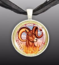 """Aries The Ram Illustration 1"""" Space Pendant Necklace in Silver Tone"""