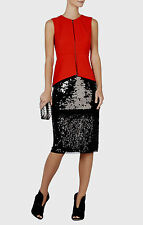 NEW BCBG MAX AZRIA Cristal Mixed Sequined Black Pencil Skirt FZS3F078 SZ XS $298