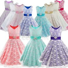 Flower Girl Lace Dress Wedding Bridesmaid Party Pageant Formal Princess Dresses