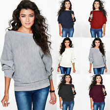 Women Jumper Tops Boat Neck Batwing Long Sleeve Casual Sweater Cardigan Blouse