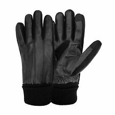 Stafford Men's Genuine Leather Thinsulate Lined Texting Gloves - Black