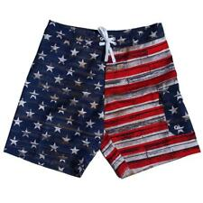 USA American Flag Distressed Paint Men's Board Shorts Swim Trunks