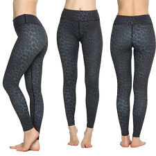 Women Yoga Workout Gym Fitness Pants Leopard Print High Waist Slimming Leggings