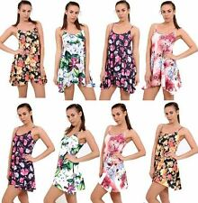 Women's Printed Swing Dress Ladies Mini Cami Strappy Vest Sleeveless Flared Top
