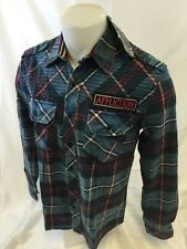 Mens AFFLICTION EASTSIDE Long Sleeve WOVEN Button Down PLAID BLUE SHIRT 110WV481