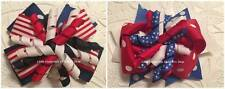 Red White Blue Navy Stripe Polka dot Korker Hair Bow 4""