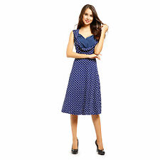 Womens 50s Vintage Retro Pin Up Swing Housewife Party Polka Dot Sleeveless Dress