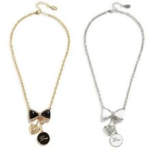Guess White Crystal Enamel Bow Heart Necklace Bracelet Set Gold/Silver NWT