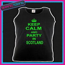 KEEP CALM AND PARTY IN SCOTLAND  HOLIDAY CLUBBING UNISEX VEST TOP