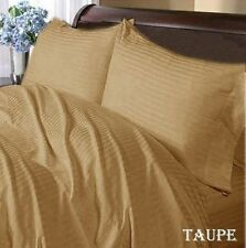 Taupe Striped Extra Deep Pocket 4 PC Sheet Set 1000 Thread Count Egyptian Cotton