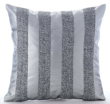 Silver Leather N Jute Stripes - Silver Faux Leather 35x35 cm Throw Cushion Cover