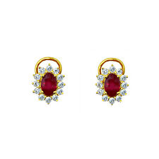 3 CT RUBY DIAMOND ENGAGEMENT HALO WEDDING EARRINGS 18K GOLD