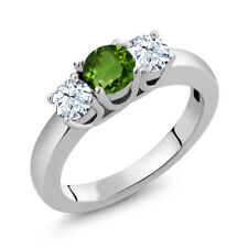1.16 Ct Round Green Chrome Diopside White Topaz 925 Sterling Silver Ring