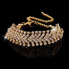 Women Multilayer Alloy Party Wedding Wrap Cuff Bangle Chain Bracelet Candid