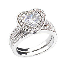 2 CT Heart Cubic Zirconia Rhodium EP Bridal Engagement Wedding Ring Set