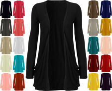 NEW WOMEN LADIES LONG SLEEVE BOYFRIEND CARDIGAN WITH POCKETS PLUS SIZES 8 - 26