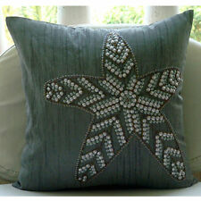 Grey Sequins Starfish 55x55 cm Silk Cushions Covers For Couch - Starry Light