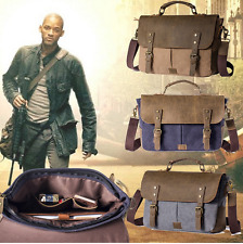 NEW Men Vintage Canvas & Leather Handbag Shoulder Briefcase Messenger Laptop Bag
