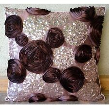 Ribbon Flowers 30x30 cm Art Silk Plum Throw Cushions Cover - Wine And Roses