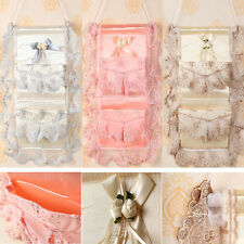 Lace Embroidery Fabric Wall Hanging Storage Bag Sorted Pocket Organizer 2Bags