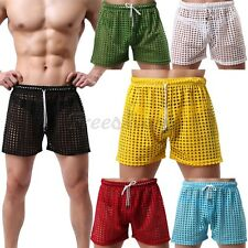 Men Drawstring Fishnet Underwear Hollow Out See-Through Mesh Boxer Shorts Pant