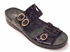 HELLE COMFORT TOTA WOMENS BLACK CROCO PATENT LEATHER COMFORT SANDAL  MSRP $179