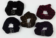 Diamante Velvet Hair Scrunchie Bobble with Sparkly Knotted Style Colour & Black