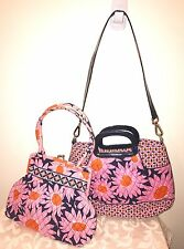 Vera Bradley Charleston Tote Bag And Alice Purse LOVES ME Floral Pink Daisy