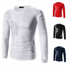 The new Dragon tiger tattoo printing round neck long sleeve T-shirt gt