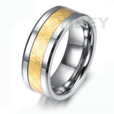 8mm Comfort Fit Tungsten Mens Ring Special Wedding Band Gold Carbon Fiber Inlay