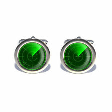 Navy Submarine Airforce Green Sonar Radar Cufflinks - With Personalised Chrome B