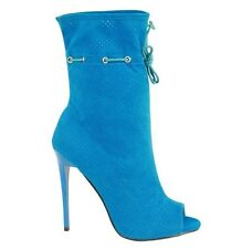 Cut Out Open Toe Stiletto High Heel Peep Toe Ankle Booties - Alley - Blue