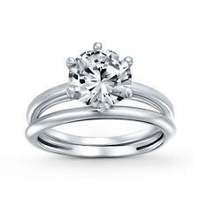 Bling Jewelry 925 Silver Round 3.5ct CZ Solitaire Engagement Ring Set