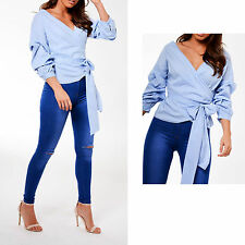 Womens Ladies Ruffle Long Sleeve Belted Wrapover Cotton T Shirt Top UK 8-14