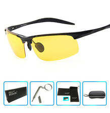 Night Vision Driving Polarized Glasses Anti Glare Unbreakable Metal Sunglasses