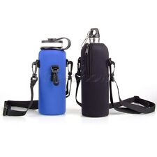 1L Water Bottle Insulated Cover Carrier Pouch Bag Holder Shoulder Strap Black