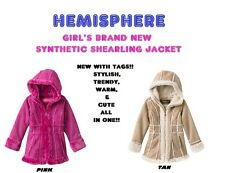 NEW GIRL'S HEMISPHERE SYNTHETIC SHEARLING  FAUX FUR TRIMMED JACKET COAT