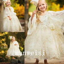 Baby Flower Girl Christening Lace Soft Baptism First Communion Custom Dress Gown