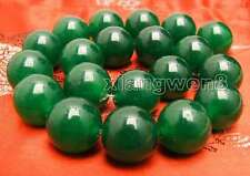 Huge 20mm Round Green High Quality Natural jade Loose Beads strand 15''-los744