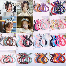 Women Cute Bow Flower Rabbit Bunny Ear Ribbon Hair Band Wire Headband Wrap Gift