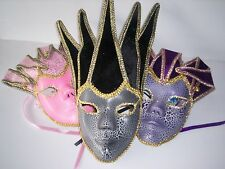 Jester Masquerade Mask - Black / Pink OR Purple