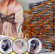 Magic Hair Slide Easy Double Beads Stretchy Hair Comb Clip Stretchable Hairpins