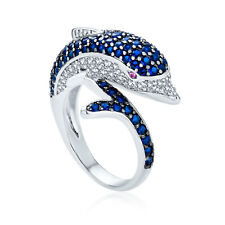 Bling Jewelry Simulated Blue Sapphire Dolphin CZ Cocktail Ring Rhodium Plated