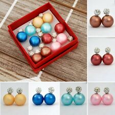 6 pairs Double Sided Pearl Crystal Stud Earrings
