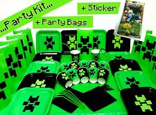 Birthday Child Party Plates Cups Banner Candles with One Minecraft Sticker