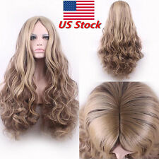 Women's Flaxen Blonde Curly Synthetic Natural Full Wigs Long Wavy Hair+Wig Cap