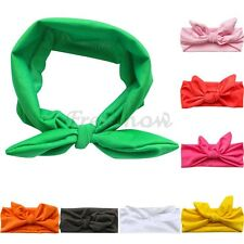 Girls Kids Elastic Stretch Plain Rabbit Bow Style Hair Band Headband Accessories