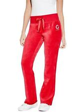 GUESS Track Pants Womens Stretch Velour Bootcut Leisure Lounge XS or S Red NWT
