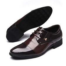 Mens Leather Pointed Toe Lace Up Business Formal Dress Shoes Black Brown Size 44