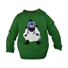 Round Neck Ireland Kids Sweater With Fluffy Sheep, Emerald Green Colour
